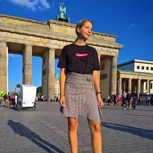 Zara Plaid asymmetrical  skirt